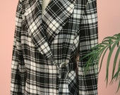 Black and White Checkered Side Closure Metal Hardware Woman's Wool Blend Blazer Size 8