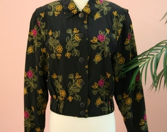 Black Jacket,Floral Jacket,Crop Jacket,Saks Fifth Ave, Black Flower Embroidered Short Cropped Silk Fancy Woman's Jacket Size XS