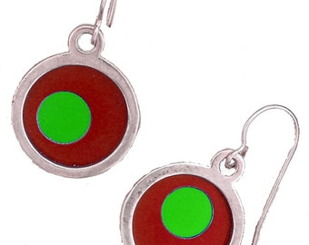 two tone Silver Round Small Earrings in Red and lime