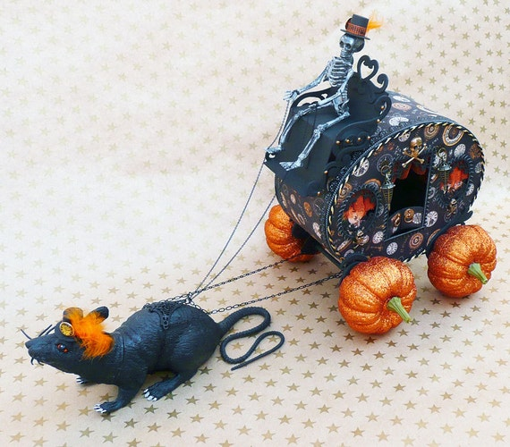OOAK handmade Halloween rat drawn coach with pumpkin wheels and skeleton driver