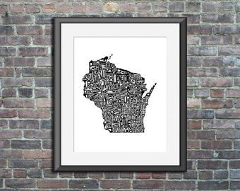 Wisconsin typography map art print 11x14 customizable personalized state poster custom wall decor engagement wedding housewarming gift