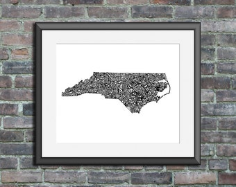 North Carolina typography map art print 5x7 personalized state poster custom wall decor engagement wedding housewarming gift