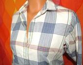 vintage 80's blouse plaid preppy ivory button down shirt Medium 70s