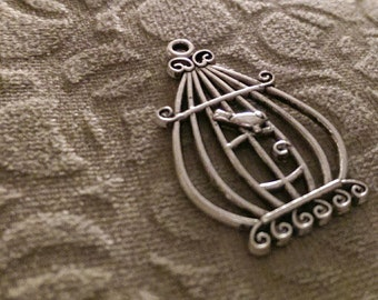 Antique Silver Finish Single Sided Bird in A Cage Pendant or Charm Great jewelry Supplies