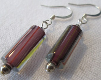 Eggplant Purple Cane Glass Earrings