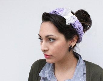LAST ONE headband chunky summer turban vegan crochet vintage lace Radiant Orchid ivory