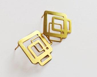 Square Gold Earrings, Geometric Gold Earrings, Square Gold Studs, Minimalistic Gold Earrings, Small Earrings, Geometric Earrings