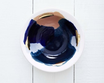 Glacier Handpainted Organic Porcelain Bowl in White, 14k Gold, Peachy Pink, and Navy Blue // Perfect for an Organic Modern Kitchen