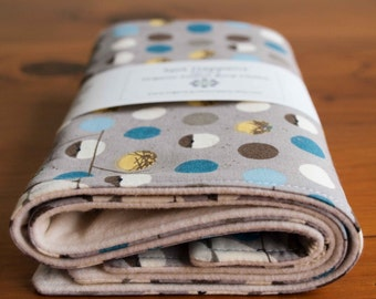 Organic Burp Cloths, Set of Two in BANK SWALLOW; Birds and Polka Dots Grey Baby Burp Cloths Gift Set by Organic Quilt Company
