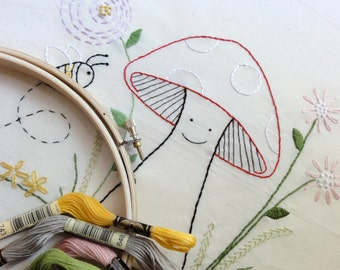 Embroidery Pattern - Happy Mushroom - Instant Download