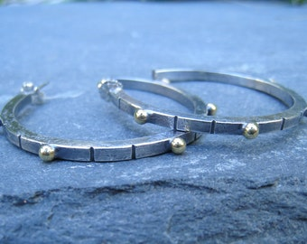 Carved Sterling Silver Hoop Earrings with Brass Granulation silver and gold earrings statement earrings large hoop earrings posts