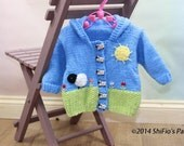 KNITTING PATTERN For Spring Scene Hooded Baby Jacket  in 2 Sizes PDF 286 Digital Download