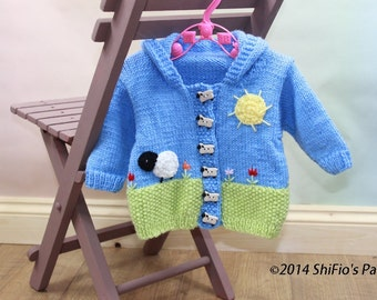 KNITTING PATTERN For Spring Scene Hooded Easter Baby Jacket  in 2 Sizes PDF 286 Digital Download