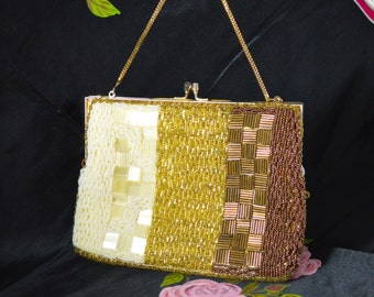 Hand Beaded Evening Purse Bag by DeLill - Ivory Pearl Gold & Copper Tones with Yellow Satin Lining - 1950s-60s