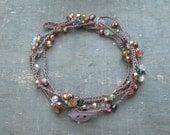 Hawaiian lei crocheted flower necklace, gemstones, crystals, pearls, dainty