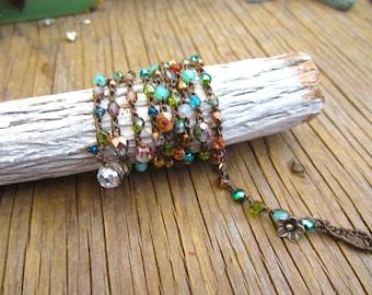 Mystic meadow wrap bracelet or necklace, natural, boho jewelry