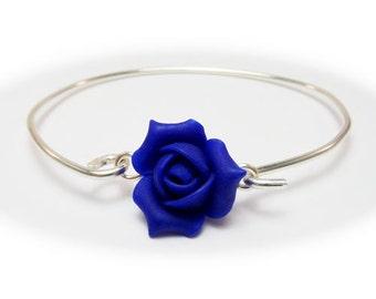 Rosebud Bracelet Sterling Silver Bangle - Rose Bud Jewelry