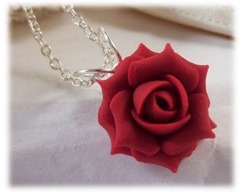 Dainty Red Rose Necklace - Red Rose Jewelry, Red Flower Necklace