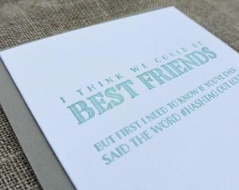 Letterpress Dealbreaker Card: Hashtag