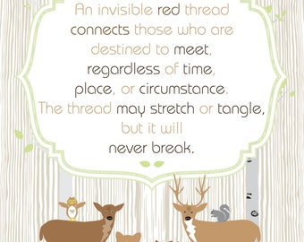 Woodland Nursery Adoption Poem, Adoption Red thread, Adoption Wall Art,