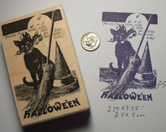 Halloween postcard, vintage cat with broom rubber stamp P5