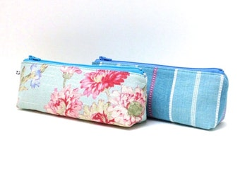 Zipper Pouch, His and Hers, Set of 2 - Pink Flowers and Stripes on Blue