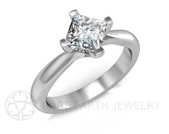 Princess Solitaire Engagement Ring White Sapphire Ring and Wedding Band 14K Gold or Palladium Wedding Set