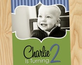 Swirl Frame with Stripes - Custom Photo Birthday Party Printable Invitation Cards, Invites
