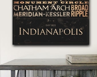 Indianapolis Indiana Typography illustration graphic art on gallery wrapped canvas  by stephen fowler