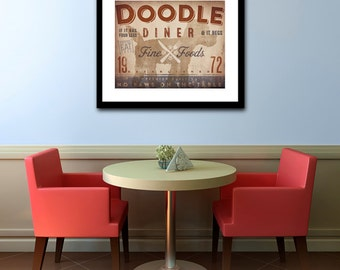 Doodle Goldendoodle Labradoodle Diner Kitchen Chef dog illustration artwork UNFRAMED giclee signed print by Stephen Fowler