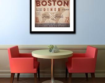 Boston Terrier Diner Kitchen Chef dog illustration artwork UNFRAMED giclee signed print by Stephen Fowler