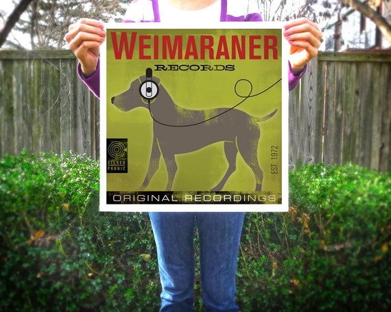 WEIMARANER dog records original illustration artwork giclee print by stephen fowler Pick A Size