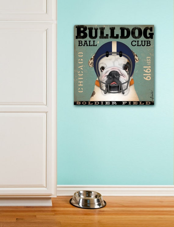 English Bulldog Football Club Chicago original graphic illustration artwork on gallery wrapped canvas by Stephen Fowler