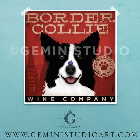 Border Collie Wine Company Company graphic illustration giclee archival signed artists print by Stephen Fowler Pick A Size