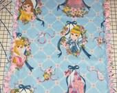 Disney Princess Blue Pink Hand-Tied Fleece Blanket Baby Girl Pet Cinderella Belle Beauty