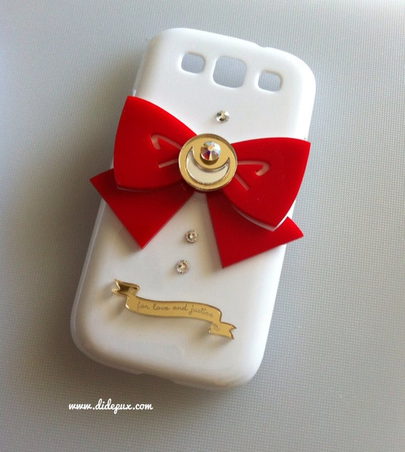 SAILOR MOON  bow white samsung galaxy S3 Red bow only