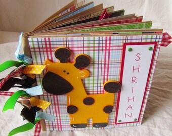 PERSONALIZED jungle or safari themed BABY BOY premade PaPeR BaG Scrapbook Album