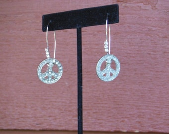 Upcycled lightweight, sparkly Peace sign earrings