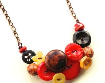 Rustic Vintage Button Necklace in Red, Brown, and Yellow Gold