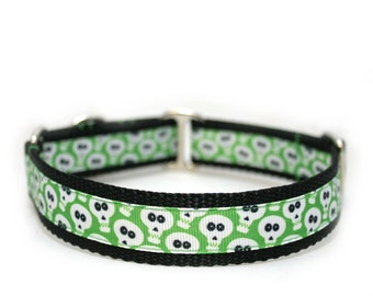 "1"" Goofy Green Ghouls martingale or buckle dog collar"