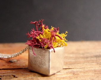Red Moss Planter Fall Cube Necklace Sterling Silver Pendant Botanical Jewelry Novelty Pendant
