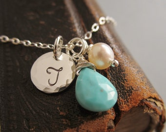 December birthstone necklace, personalized necklace, turquoise, custom initial, sterling silver monogram, silver necklace, freshwater pearl