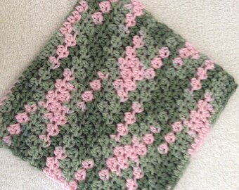 Crochet Dishcloth-PInk Camouflage