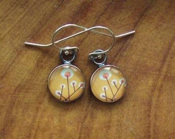 Orange Mod Flowers,Resin, Sterling Silver Earrings