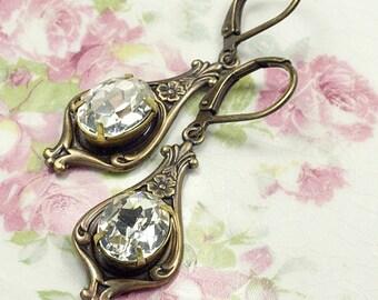 Art nouveau earrings bridal crystal brass 1920's dangle antique brass bronze jewel floral rhinestone gem vintage style