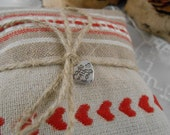 Lavender Sachets with Hearts - Set  of  3  Beige -Cream and Red - handmade in France