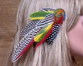 Deep Forest Feather Hair Barrette- Ready to Ship