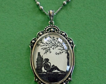Sale 20% Off // AFTERNOON READING in the PARK Necklace, pendant on chain - Silhouette Jewelry // Coupon Code SALE20