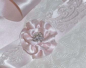 Wedding  Sash Bridal Dress Belt w Handmade Flower Lace on Satin Pink, Champagne Ivory Black, or White
