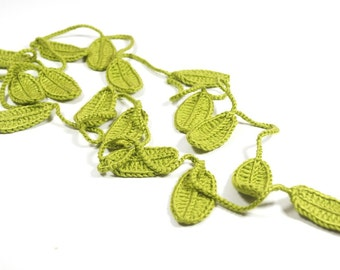 Leaf Scarf, Handmade Crochet Moss Green , Flower Lariat, Scarf, Necklace